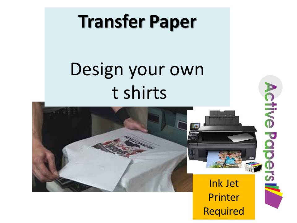 Transfer Paper A4 for light/white colour cotton 20 or 50 sheet pack