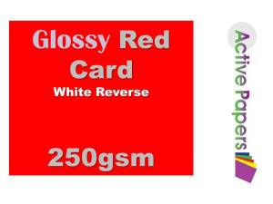 Bright Red Gloss Card 250gsm 12x12